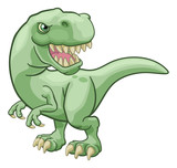 Fototapeta Dinusie - A T Rex Tyrannosaurus dinosaur cartoon character