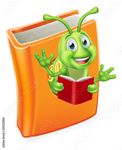 A cute bookworm caterpillar worm cartoon character education mascot coming out o Tablou Canvas