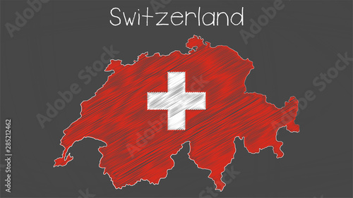 Fotografie, Obraz Switzerland map-flag chalkboard style illustration