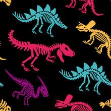 Dinosaurs Skeletons Fossils Seamless Pattern. Tshirt Print, Fabric, Modern Background. Vector