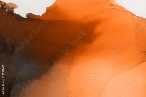 Foto auf Gartenposter Rotglühen Hand painted alcohol ink background. Abstract delicate orange texture. Contemporary autumn wallpaper.