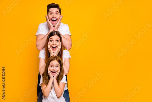 Valokuvatapetti Portrait of three nice attractive charming lovely cute careful cheerful cheery s
