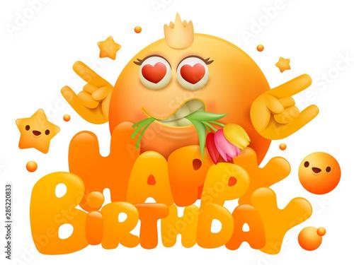 Happy Birthday Invitation Card Template With Yellow Emoji