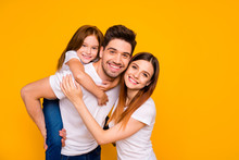 Portrait Of Three Nice Attractive Lovely Cheerful Cheery Kind Tender Sweet Person Having Fun Weekend Holiday Mommy Daddy Day Isolated Over Bright Vivid Shine Yellow Background