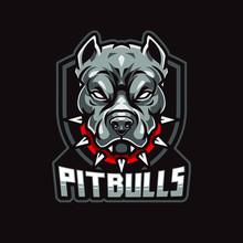 Angry Pitbull Mascot, Vector L...