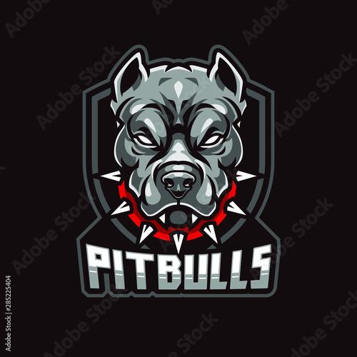 Angry Pitbull Mascot, Vector Logo Illustration Wallpaper Mural