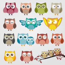 Cute Owl Cartoon Vector Set