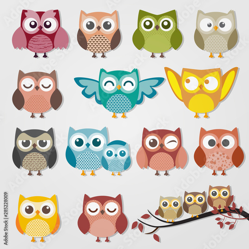 Photo Stands Owls cartoon cute owl cartoon vector set