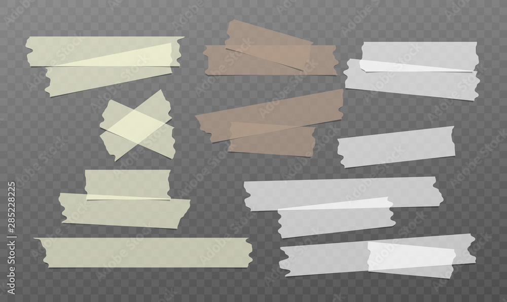 Fototapeta White, yellow, brown adhesive, sticky, masking, duct tape strips for text stuck on black squared background. Vector illustration.