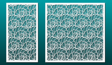 Laser Cut Panels Vector Set. Template Or Stencil For Wood Carving, Metal Cutting, Paper Art, Card Design Or Home Interior Decor