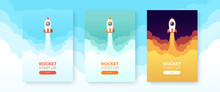 Rocket Launch In The Sky Flying Over Clouds. Space Ship In Smoke Clouds. Business Concept. Start Up Template. Horizontal Background. Simple Modern Cartoon Design. Flat Style Vector Illustration.