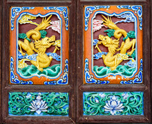 Carving Pattern In A Traditional Chinese Pavilion.