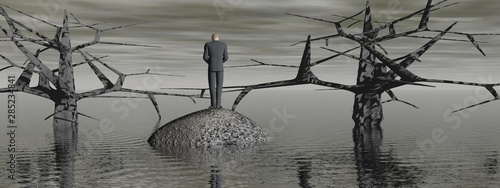 Foto auf Leinwand Dunkelgrau apocalypse landscape and a man in depression - 3d render