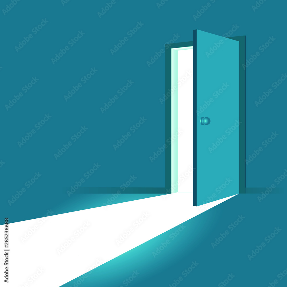 Fototapety, obrazy: Open door. Symbol of new career, opportunities, business ventures and initiative. Business concept. Vector illustration