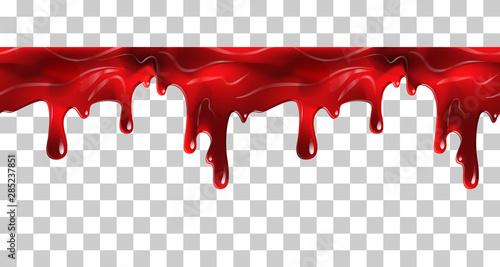 Fototapeten Künstlich Dripping seamless blood. Flow liquid, drip wet. Thick red ketchup or jam flow down Halloween concept: Blood dripping - Seamless Vector on transparent background