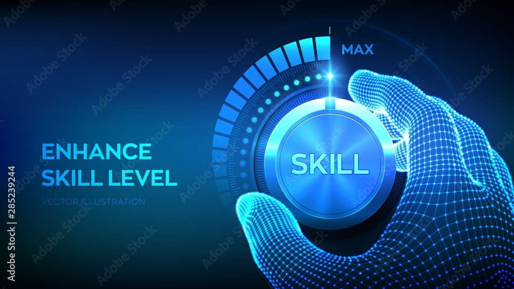 Fototapety, obrazy: Skill levels knob button. Increasing Skills Level. Wireframe hand turning a skill test knob to the maximum position. Concept of professional or educational knowledge. Vector illustration.