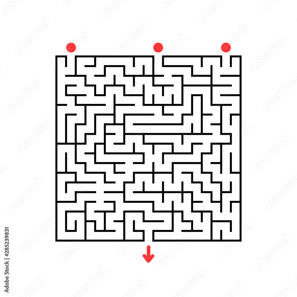 Fototapeta Abstract square maze. Game for kids. Puzzle for children. Labyrinth conundrum. Flat vector illustration isolated on white background.