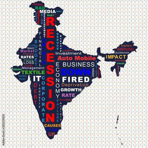 Creative conceptual illustration of recession in India, in a ... on word map dubai, word map world, word map italy, word map saudi arabia, word map english, word map language,