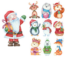 Big Set Of New Year Animals And Santa Claus Isolated. Watercolor Illustration Fox, Snowman, Mouse, Deer, Penguin, Bear For Christmas Card Design.