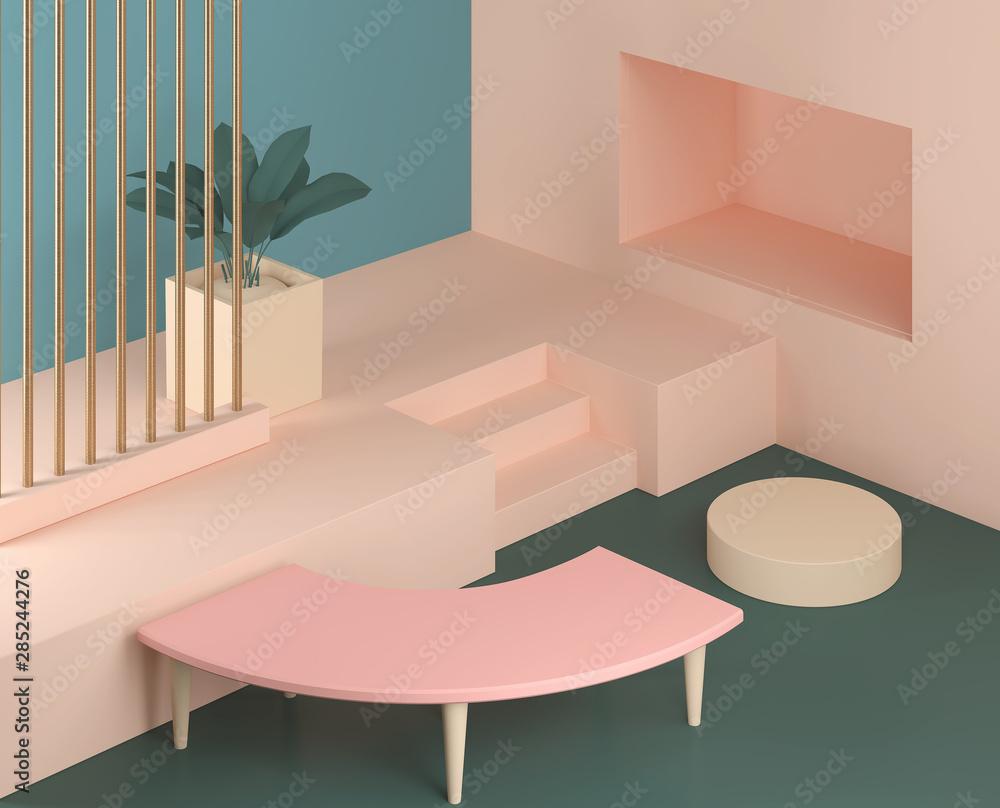 Fototapety, obrazy: 3d render abstract platform, minimal pastel podium display scene.