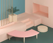 Leinwanddruck Bild - 3d render abstract platform, minimal pastel podium display scene.