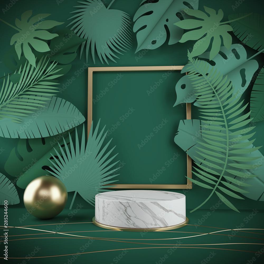 Fototapeta 3d rendering scene podium display with Tropical leaf background.