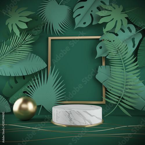 Obraz 3d rendering scene podium display with Tropical leaf background. - fototapety do salonu