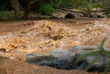 Natural Disaster,powerful Water Currents And Rapids Churning In Flowing Stream River,dangerous Flash Flood Of Waterfall In Nature,the Major Cause Heavy Flooding,including The Impact Of Deforestation
