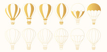 Set Of Golden Hot Air Balloons...