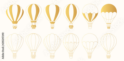 Fototapeta Set of golden hot air balloons silhouettes and outlines