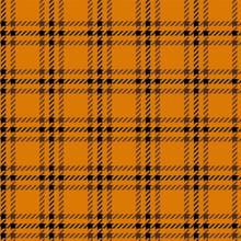 タータンチェックのシームレスパターン オレンジ色 ハロウィンイメージ