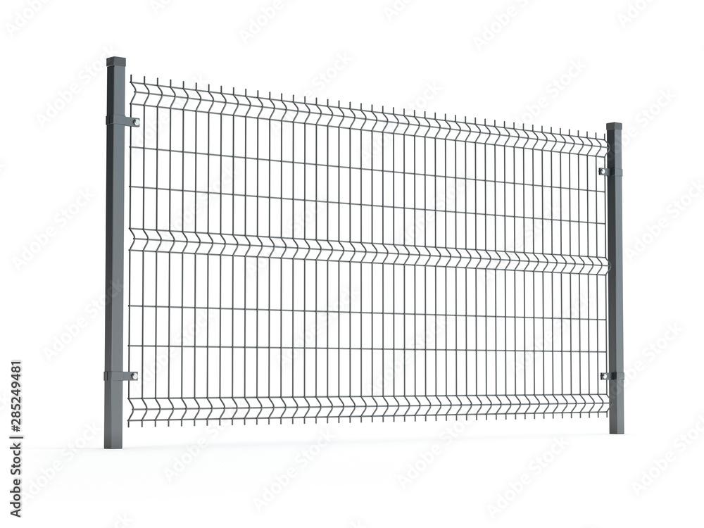 Fototapeta Fence panel isolated on white, rod type, 3D illustration