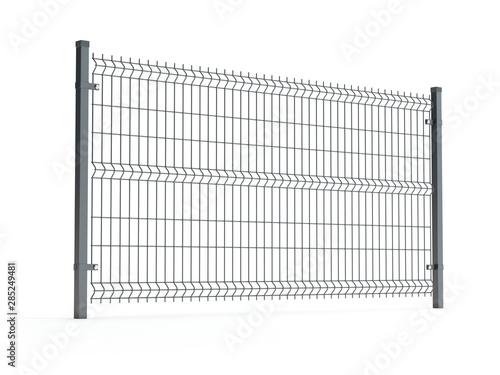 Stampa su Tela Fence panel isolated on white, rod type, 3D illustration