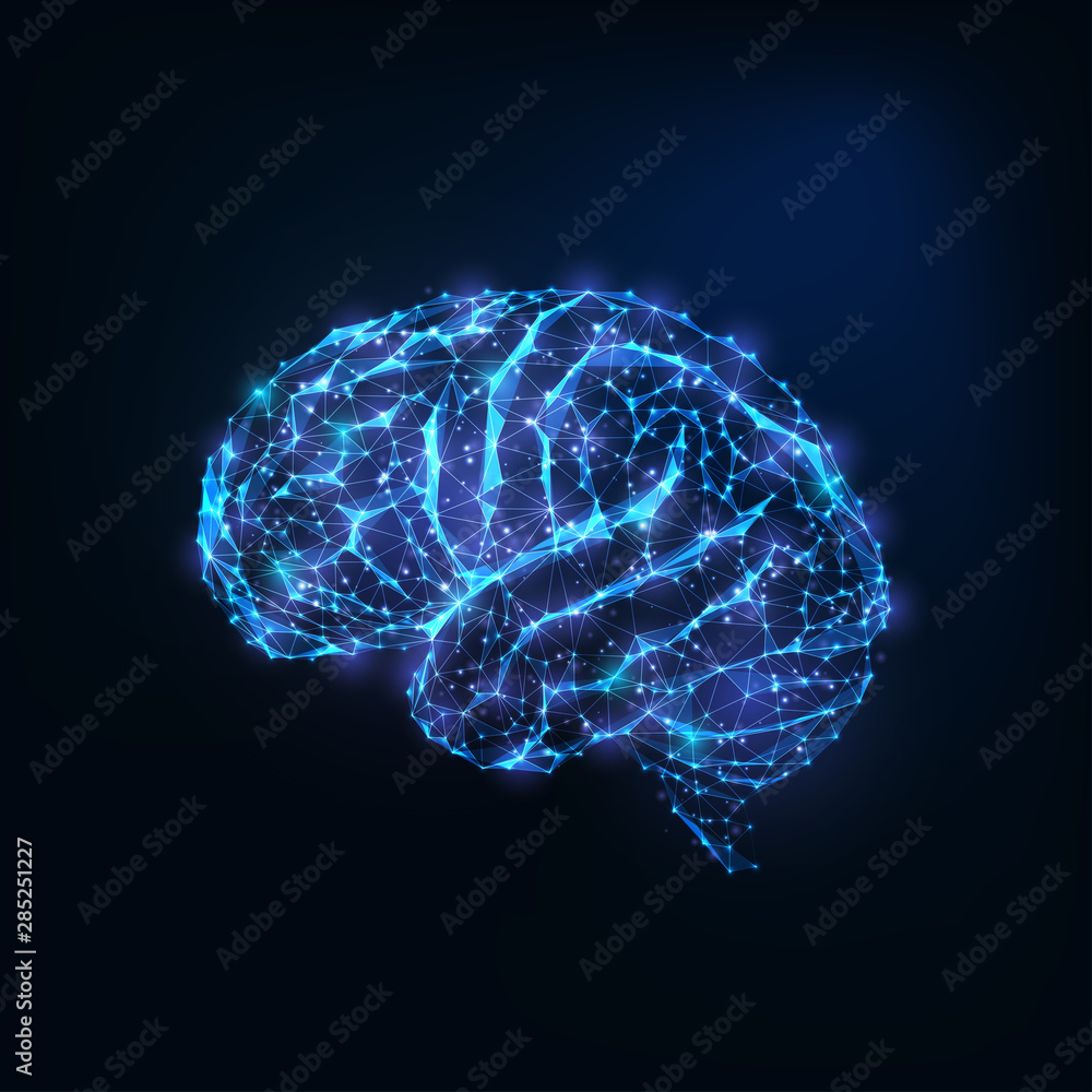 Fototapety, obrazy: Futuristic glowing low polygonal brain as connected lines, stars isolated on dark blue background.