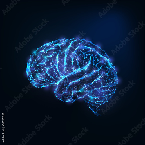 Obraz Futuristic glowing low polygonal brain as connected lines, stars isolated on dark blue background. - fototapety do salonu