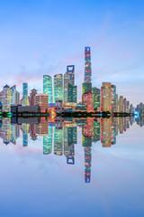 Shanghai skyline and modern urban buildings at sunrise,China.