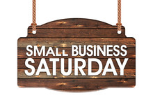 Text Of Small Business Saturday In Rope Wooden Hanging Sign