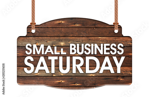Fototapeta  Text of Small Business Saturday in Rope wooden hanging sign