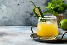 Spicy Golden Watermelon Margarita Cocktail With Jalapeno And Lime. Mexican Alcoholic Drink For Cinco De Mayo Party