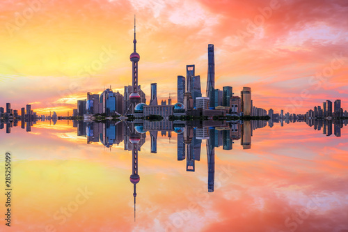 Shanghai skyline and modern buildings at sunrise,panoramic view. Canvas Print