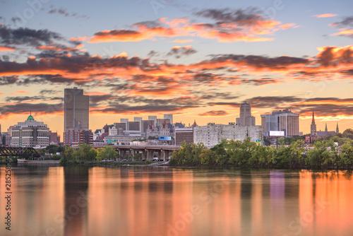 Poster New York Albany, New York, USA skyline on the Hudson River