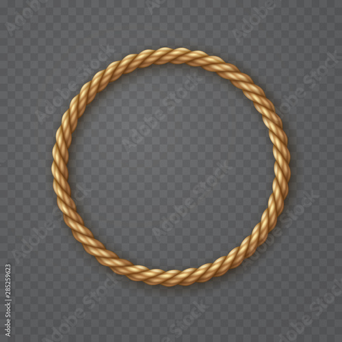 Obraz Rope circle frame isolated on transparent background. Vector round texture string, jute, thread or cord border pattern. - fototapety do salonu
