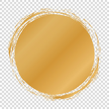 Gold Round Banner - Brush Painted Circle On Transparent Background