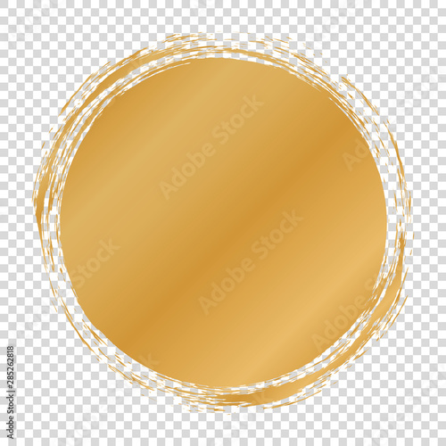 Fotografie, Obraz  gold round banner - brush painted circle on transparent background