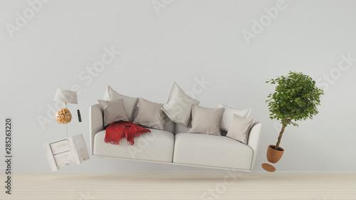 Fliegendes Sofa und Möbel in Schwerelosigkeit Wallpaper Mural