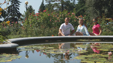 Mother, Father And Cute Daughter In Summer Near Fountain With Water Lilies