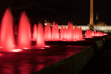Fountains Backlighted By Red In Moscow In Victory Park, Russia