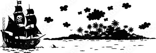 Treasure island and a sea pirate sailing ship with guns and a black flag of Joll Canvas Print