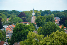 Aerial View On Nunspeet, A Small Dutch Village With Church In The Netherlands