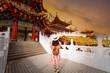 Leinwanddruck Bild Woman tourist is sightseeing inside Thean Hou Temple in Kuala Lumpur.